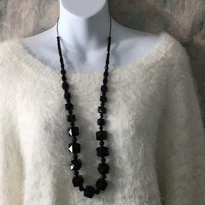 Joan Rivers faceted black bead necklace 39""